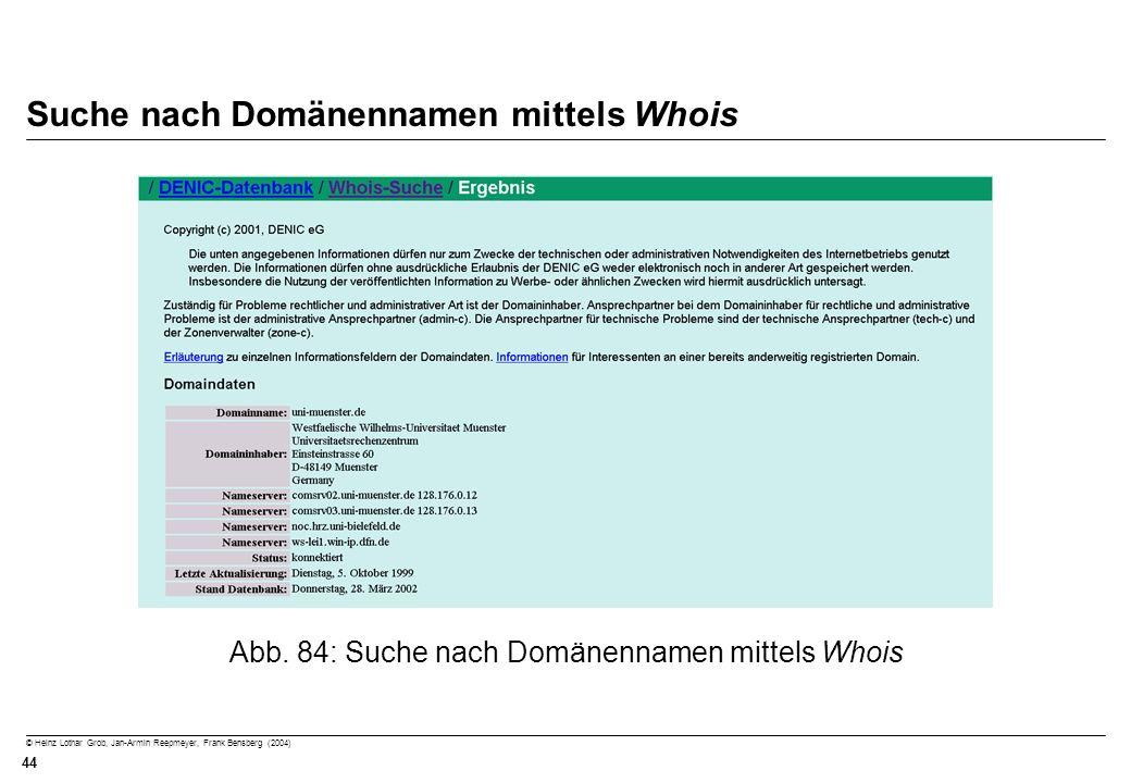 © Heinz Lothar Grob, Jan-Armin Reepmeyer, Frank Bensberg (2004) 44 Suche nach Domänennamen mittels Whois Abb. 84: Suche nach Domänennamen mittels Whoi