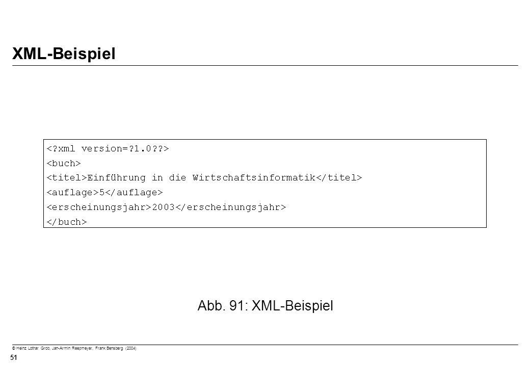 © Heinz Lothar Grob, Jan-Armin Reepmeyer, Frank Bensberg (2004) 51 XML-Beispiel Abb. 91: XML-Beispiel