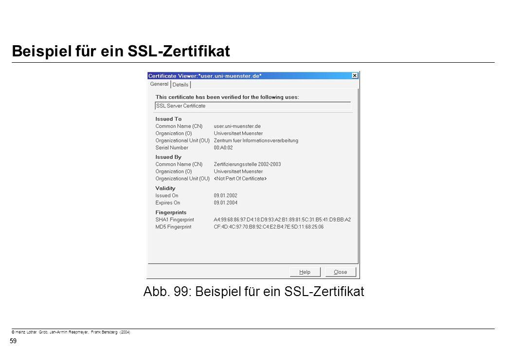 © Heinz Lothar Grob, Jan-Armin Reepmeyer, Frank Bensberg (2004) 59 Beispiel für ein SSL-Zertifikat Abb. 99: Beispiel für ein SSL-Zertifikat