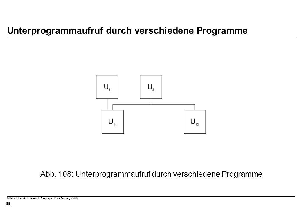 © Heinz Lothar Grob, Jan-Armin Reepmeyer, Frank Bensberg (2004) 68 Unterprogrammaufruf durch verschiedene Programme Abb. 108: Unterprogrammaufruf durc