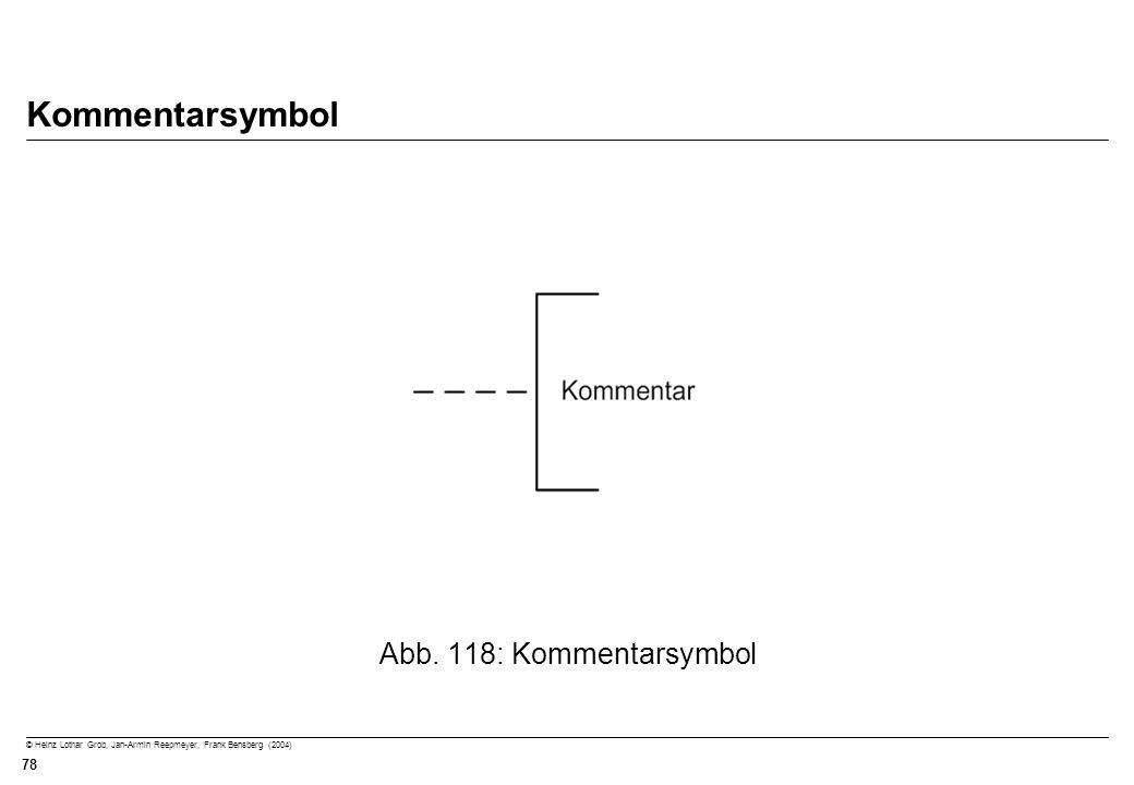 © Heinz Lothar Grob, Jan-Armin Reepmeyer, Frank Bensberg (2004) 78 Kommentarsymbol Abb. 118: Kommentarsymbol
