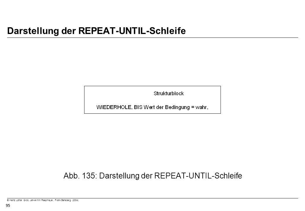 © Heinz Lothar Grob, Jan-Armin Reepmeyer, Frank Bensberg (2004) 95 Darstellung der REPEAT-UNTIL-Schleife Abb. 135: Darstellung der REPEAT-UNTIL-Schlei