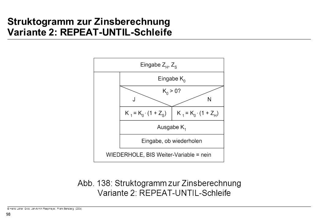 © Heinz Lothar Grob, Jan-Armin Reepmeyer, Frank Bensberg (2004) 98 Struktogramm zur Zinsberechnung Variante 2: REPEAT-UNTIL-Schleife Abb. 138: Strukto