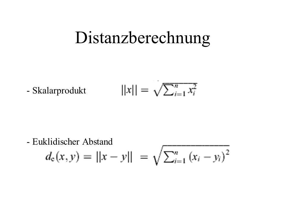 Distanzberechnung - Skalarprodukt - Euklidischer Abstand
