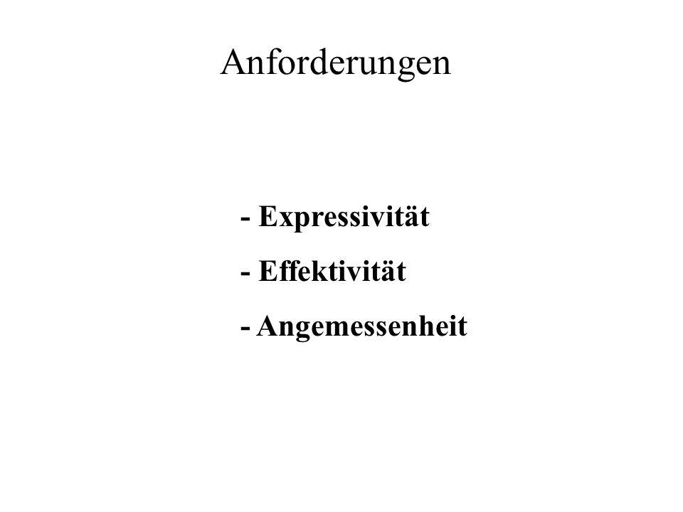 - Expressivität - Effektivität - Angemessenheit Anforderungen