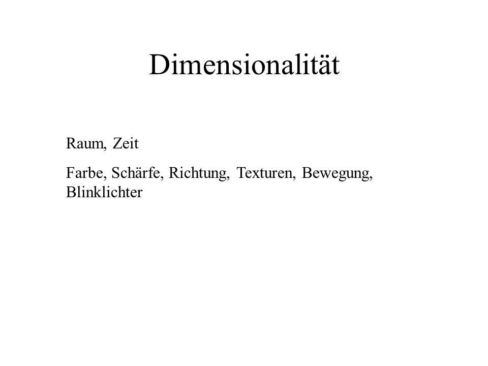 Dimensionalität Raum, Zeit Farbe, Schärfe, Richtung, Texturen, Bewegung, Blinklichter