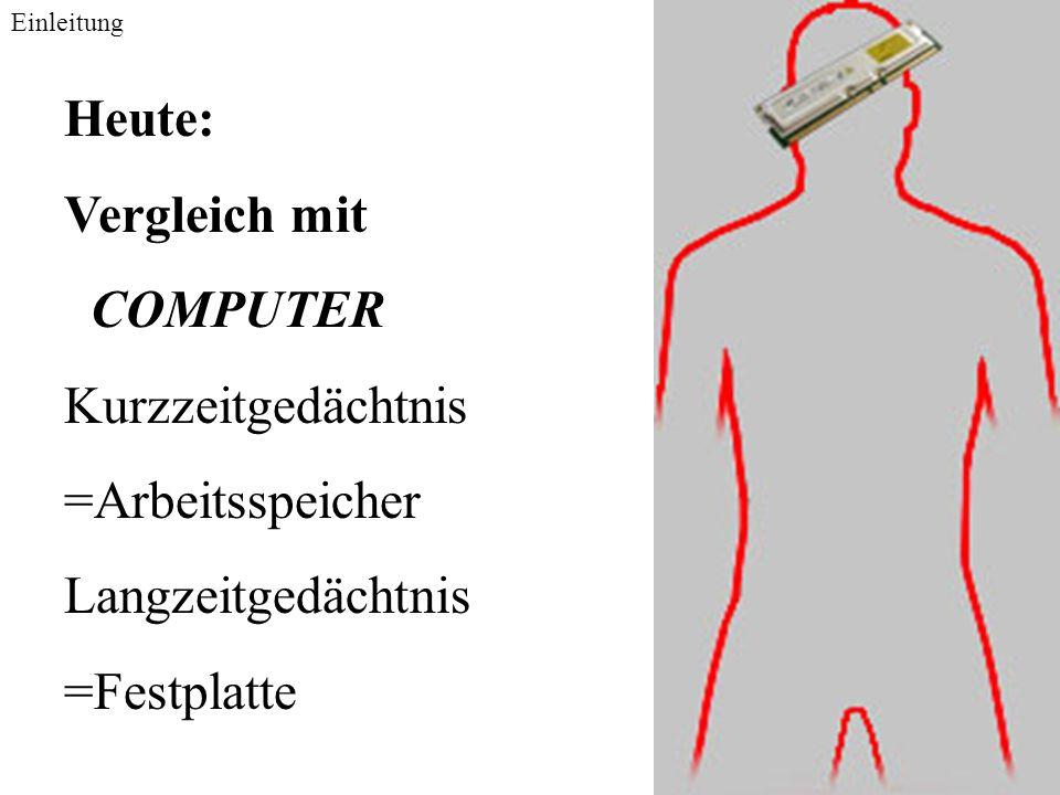 Heute: Vergleich mit COMPUTER Kurzzeitgedächtnis =Arbeitsspeicher Langzeitgedächtnis =Festplatte Einleitung