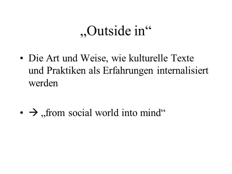 Outside in Die Art und Weise, wie kulturelle Texte und Praktiken als Erfahrungen internalisiert werden from social world into mind