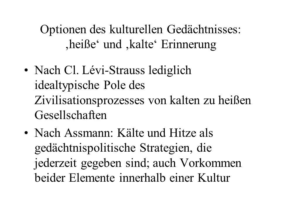 Optionen des kulturellen Gedächtnisses: heiße und kalte Erinnerung Nach Cl.