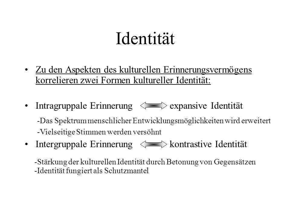 Identität Zu den Aspekten des kulturellen Erinnerungsvermögens korrelieren zwei Formen kultureller Identität: Intragruppale Erinnerung expansive Identität Intergruppale Erinnerung kontrastive Identität -Das Spektrum menschlicher Entwicklungsmöglichkeiten wird erweitert -Vielseitige Stimmen werden versöhnt -Stärkung der kulturellen Identität durch Betonung von Gegensätzen -Identität fungiert als Schutzmantel