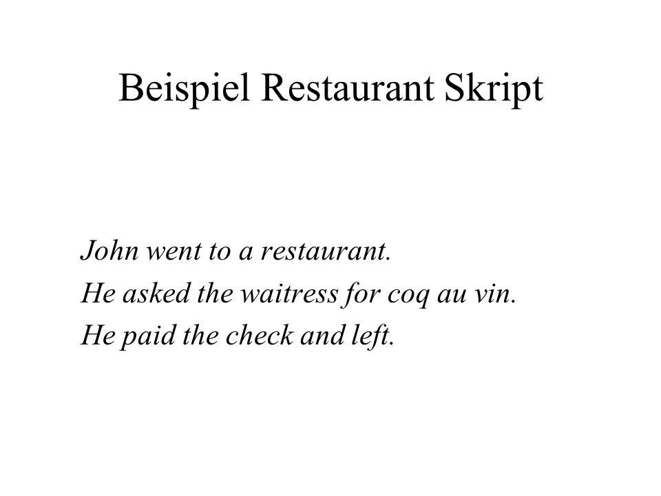 Beispiel Restaurant Skript John went to a restaurant.