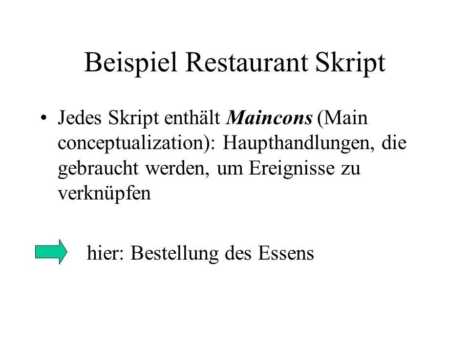 Beispiel Restaurant Skript Jedes Skript enthält Maincons (Main conceptualization): Haupthandlungen, die gebraucht werden, um Ereignisse zu verknüpfen hier: Bestellung des Essens