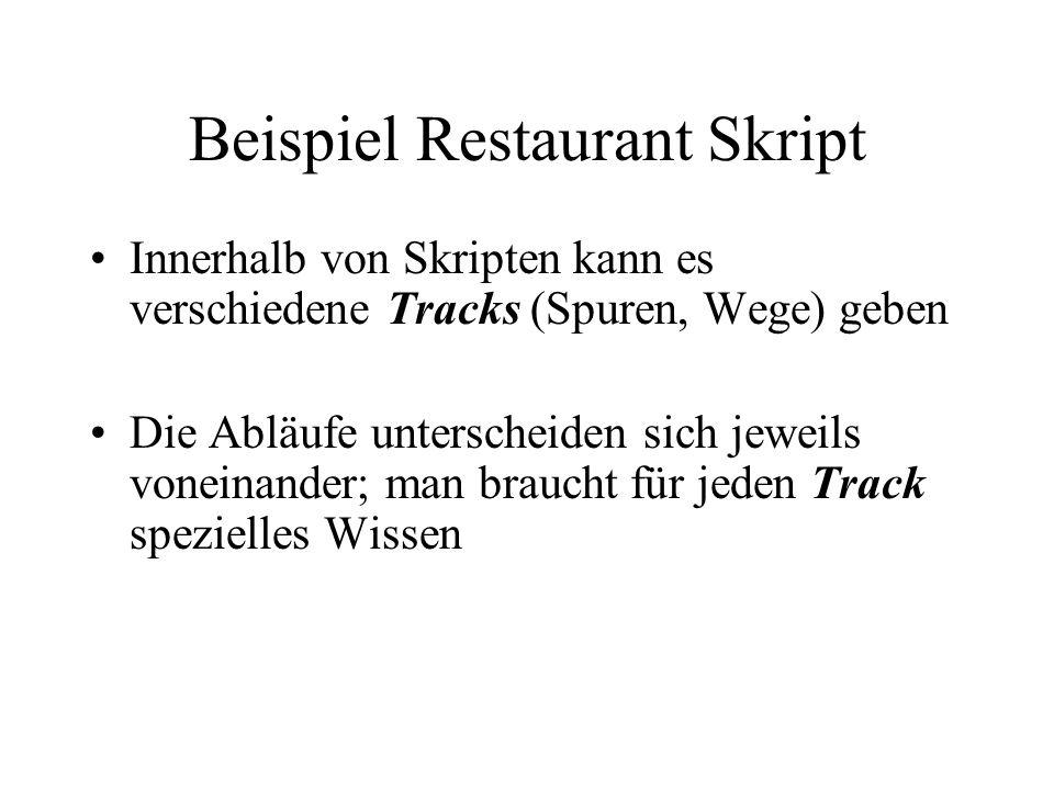 Beispiel Restaurant Skript Innerhalb von Skripten kann es verschiedene Tracks (Spuren, Wege) geben Die Abläufe unterscheiden sich jeweils voneinander; man braucht für jeden Track spezielles Wissen
