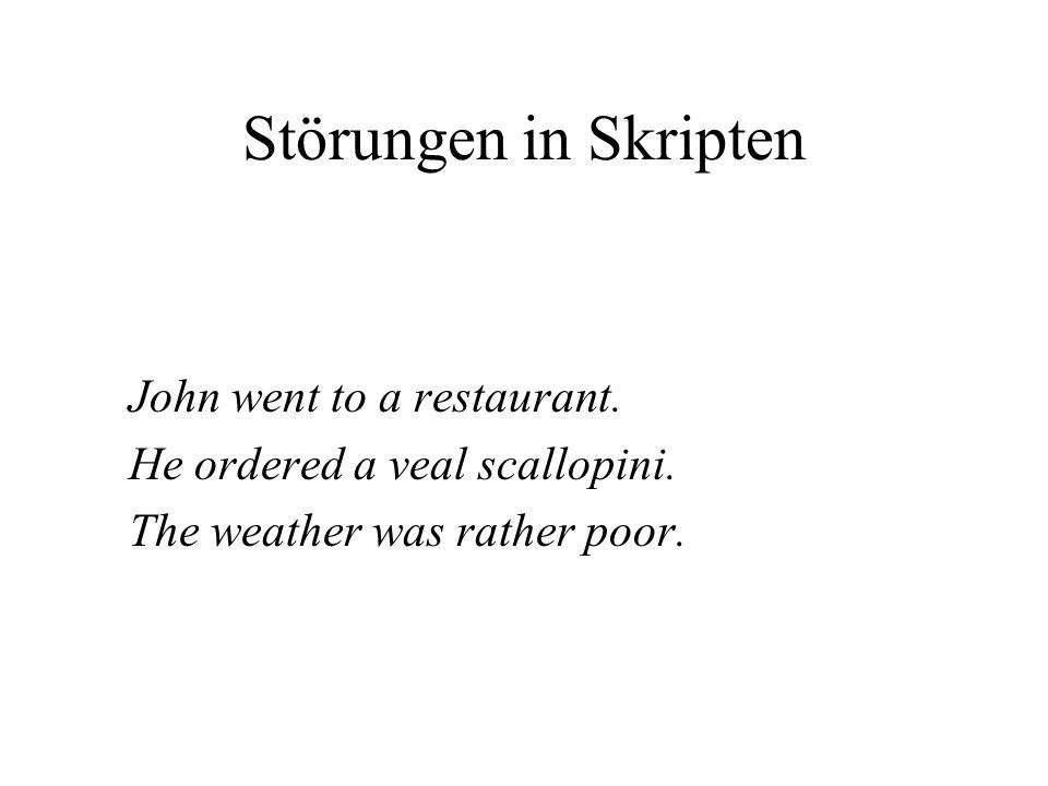Störungen in Skripten John went to a restaurant.He ordered a veal scallopini.