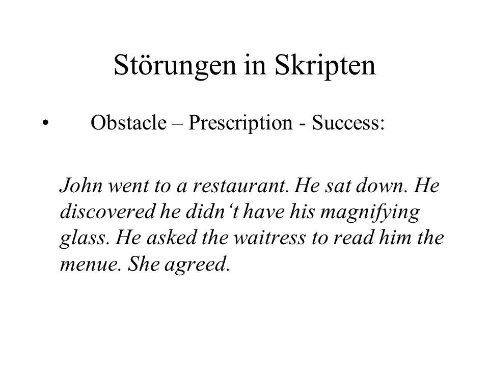Störungen in Skripten Obstacle – Prescription - Success: John went to a restaurant.