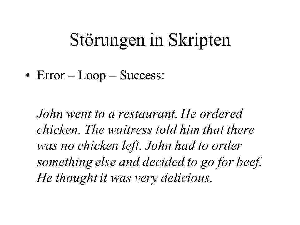 Störungen in Skripten Error – Loop – Success: John went to a restaurant.