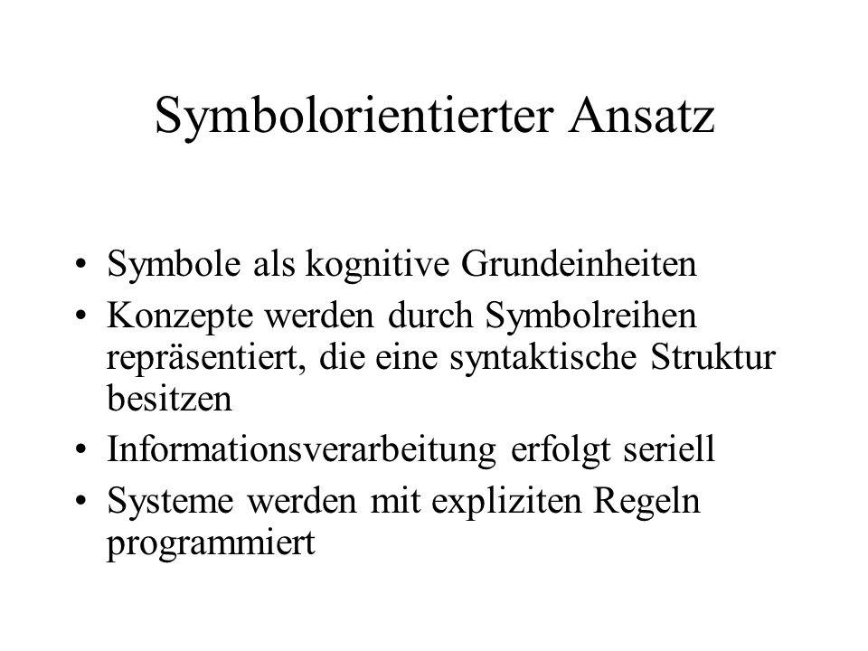 Symbolorientierter Ansatz Symbole als kognitive Grundeinheiten Konzepte werden durch Symbolreihen repräsentiert, die eine syntaktische Struktur besitzen Informationsverarbeitung erfolgt seriell Systeme werden mit expliziten Regeln programmiert