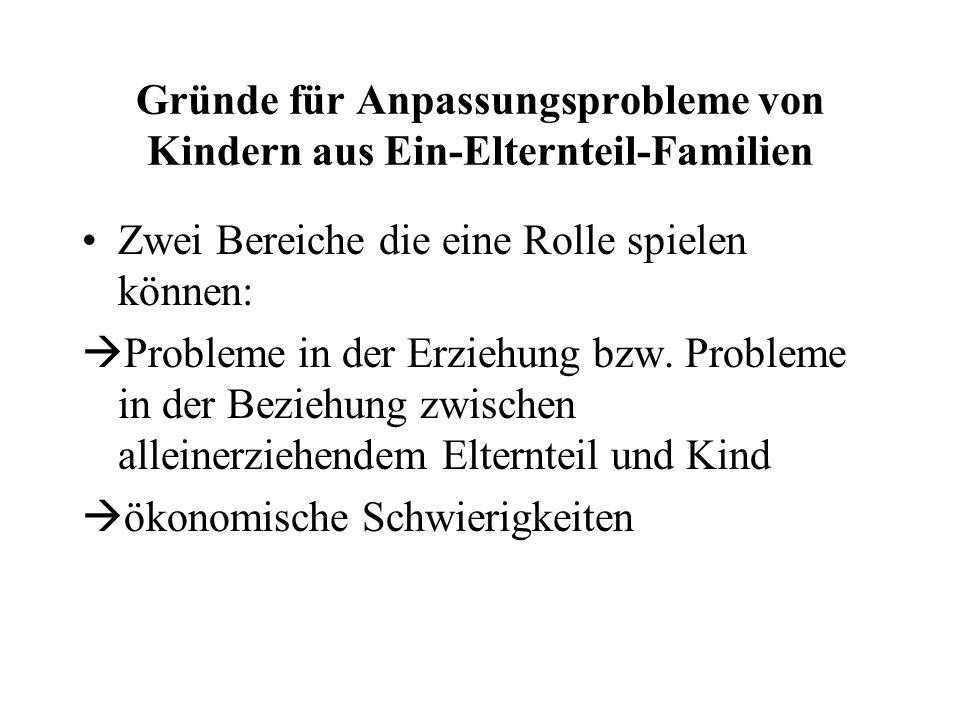 Wie Kinder mit der Lebenssituation in Ein-Elternteil-Familien umgehen Als Risiko für die Verarbeitung einer Scheidung wird das Geschlecht diskutiert;