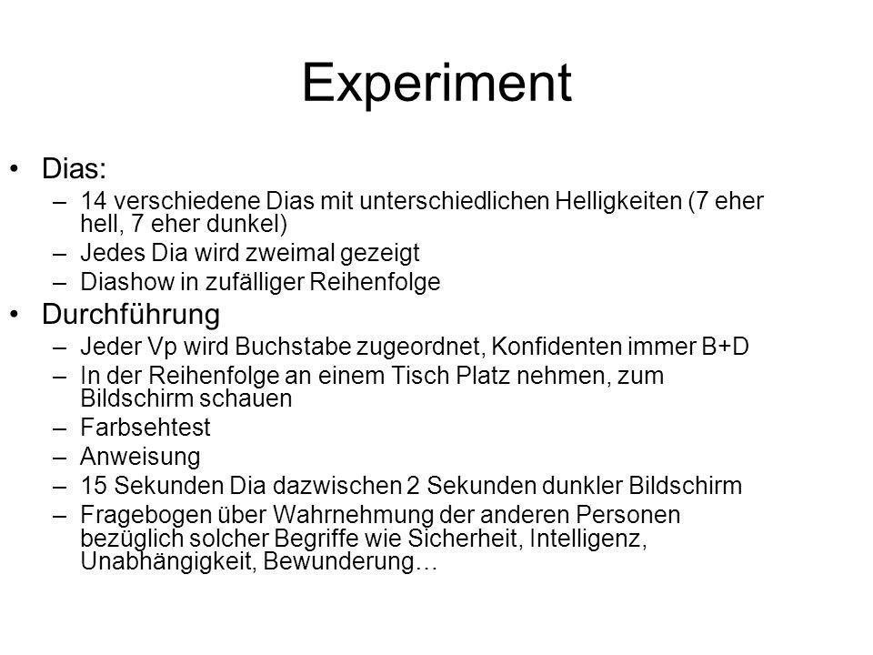 Experiment Dias: –14 verschiedene Dias mit unterschiedlichen Helligkeiten (7 eher hell, 7 eher dunkel) –Jedes Dia wird zweimal gezeigt –Diashow in zuf