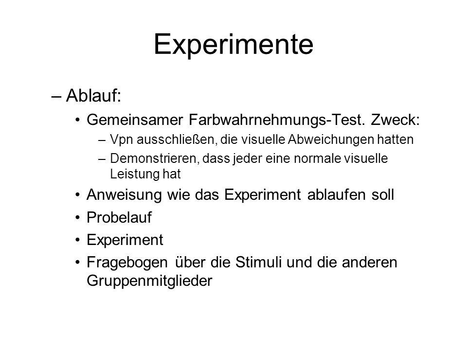 Experimente –Ablauf: Gemeinsamer Farbwahrnehmungs-Test. Zweck: –Vpn ausschließen, die visuelle Abweichungen hatten –Demonstrieren, dass jeder eine nor