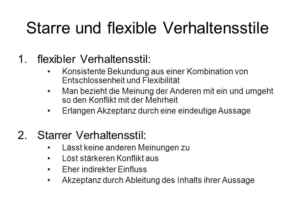 Starre und flexible Verhaltensstile 1.flexibler Verhaltensstil: Konsistente Bekundung aus einer Kombination von Entschlossenheit und Flexibilität Man