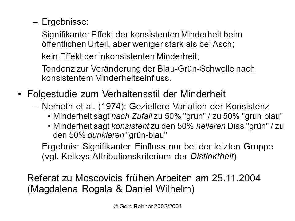 © Gerd Bohner 2002/2004 –Ergebnisse: Signifikanter Effekt der konsistenten Minderheit beim öffentlichen Urteil, aber weniger stark als bei Asch; kein