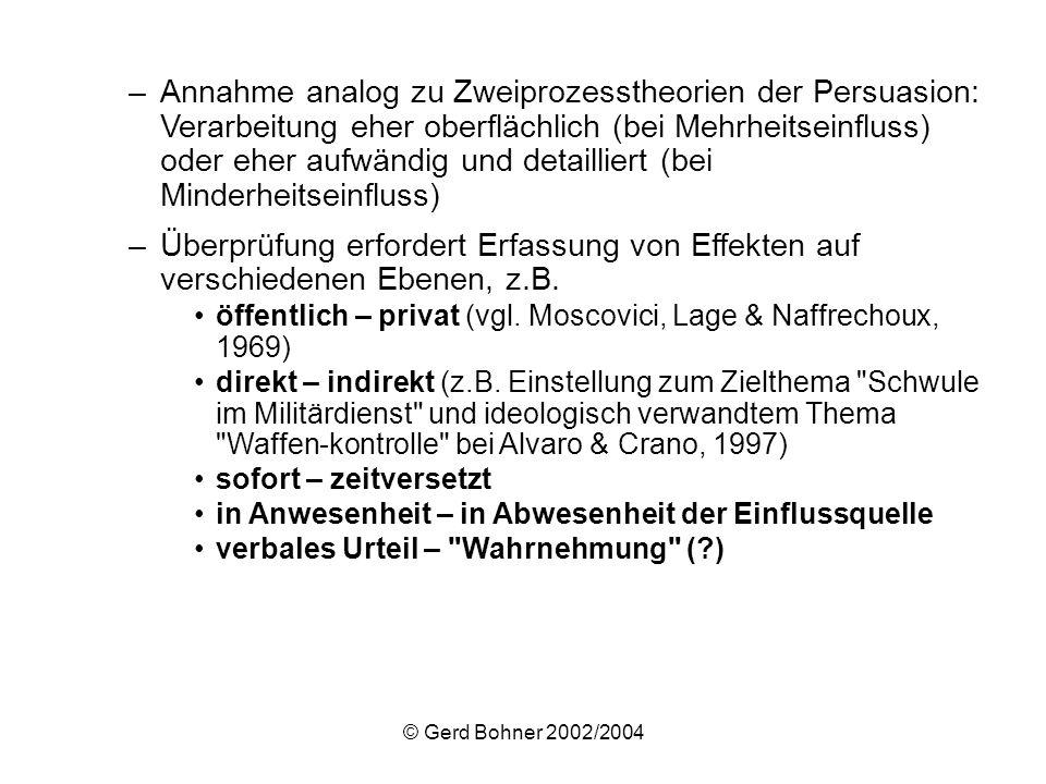 © Gerd Bohner 2002/2004 –Annahme analog zu Zweiprozesstheorien der Persuasion: Verarbeitung eher oberflächlich (bei Mehrheitseinfluss) oder eher aufwä