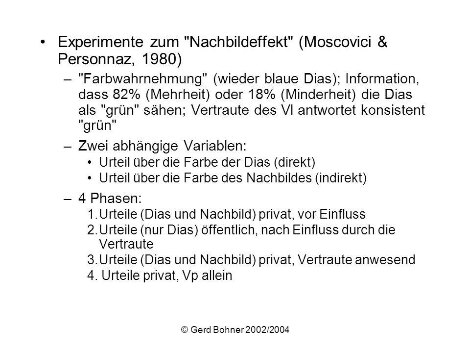 © Gerd Bohner 2002/2004 Experimente zum