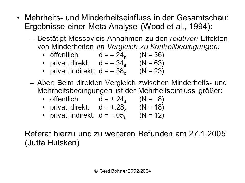 © Gerd Bohner 2002/2004 Mehrheits- und Minderheitseinfluss in der Gesamtschau: Ergebnisse einer Meta-Analyse (Wood et al., 1994): –Bestätigt Moscovici