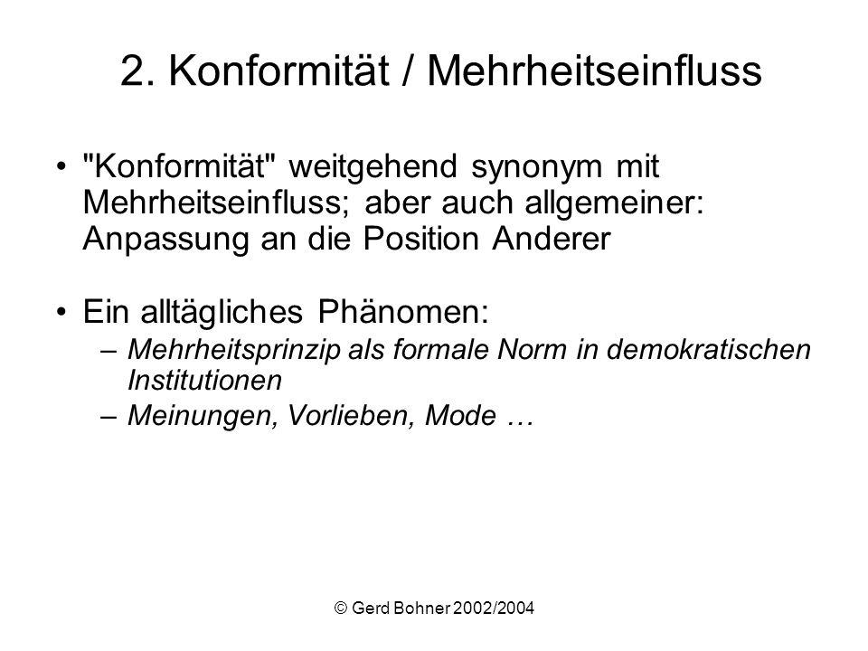 © Gerd Bohner 2002/2004 Mehrheits- und Minderheitseinfluss in der Gesamtschau: Ergebnisse einer Meta-Analyse (Wood et al., 1994): –Bestätigt Moscovicis Annahmen zu den relativen Effekten von Minderheiten im Vergleich zu Kontrollbedingungen: öffentlich:d = –.24 a (N = 36) privat, direkt:d = –.34 a (N = 63) privat, indirekt:d = –.58 b (N = 23) –Aber: Beim direkten Vergleich zwischen Minderheits- und Mehrheitsbedingungen ist der Mehrheitseinfluss größer: öffentlich:d = +.24 a (N = 8) privat, direkt:d = +.28 a (N = 18) privat, indirekt:d = –.05 b (N = 12) Referat hierzu und zu weiteren Befunden am 27.1.2005 (Jutta Hülsken)