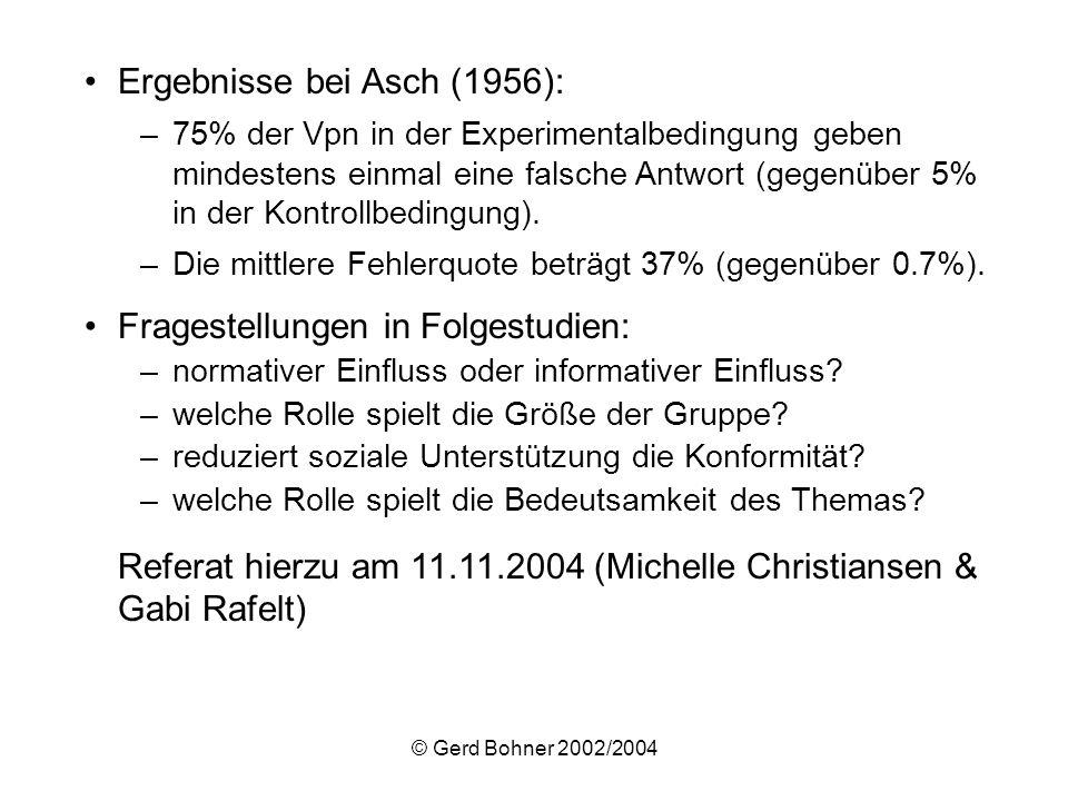© Gerd Bohner 2002/2004 Ergebnisse bei Asch (1956): –75% der Vpn in der Experimentalbedingung geben mindestens einmal eine falsche Antwort (gegenüber
