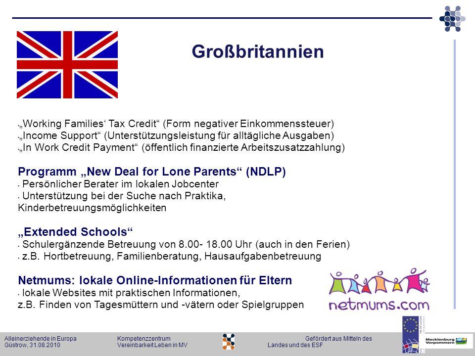 Alleinerziehende in Europa KompetenzzentrumGefördert aus Mitteln des Güstrow, 31.08.2010Vereinbarkeit Leben in MVLandes und des ESF Großbritannien Wor