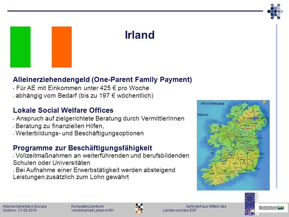 Alleinerziehende in Europa KompetenzzentrumGefördert aus Mitteln des Güstrow, 31.08.2010Vereinbarkeit Leben in MVLandes und des ESF Irland Alleinerzie