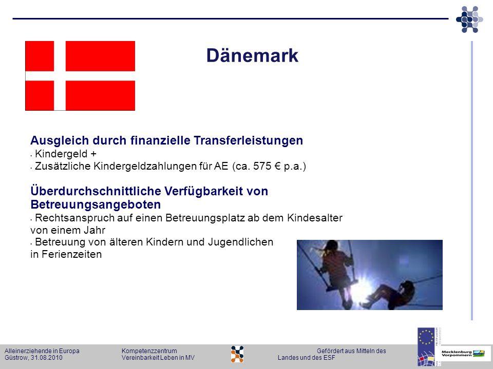 Alleinerziehende in Europa KompetenzzentrumGefördert aus Mitteln des Güstrow, 31.08.2010Vereinbarkeit Leben in MVLandes und des ESF Dänemark Ausgleich
