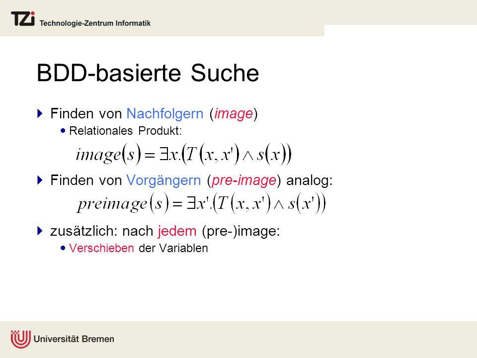BDD-basierte Suche Finden von Nachfolgern (image) Relationales Produkt: Finden von Vorgängern (pre-image) analog: zusätzlich: nach jedem (pre-)image: