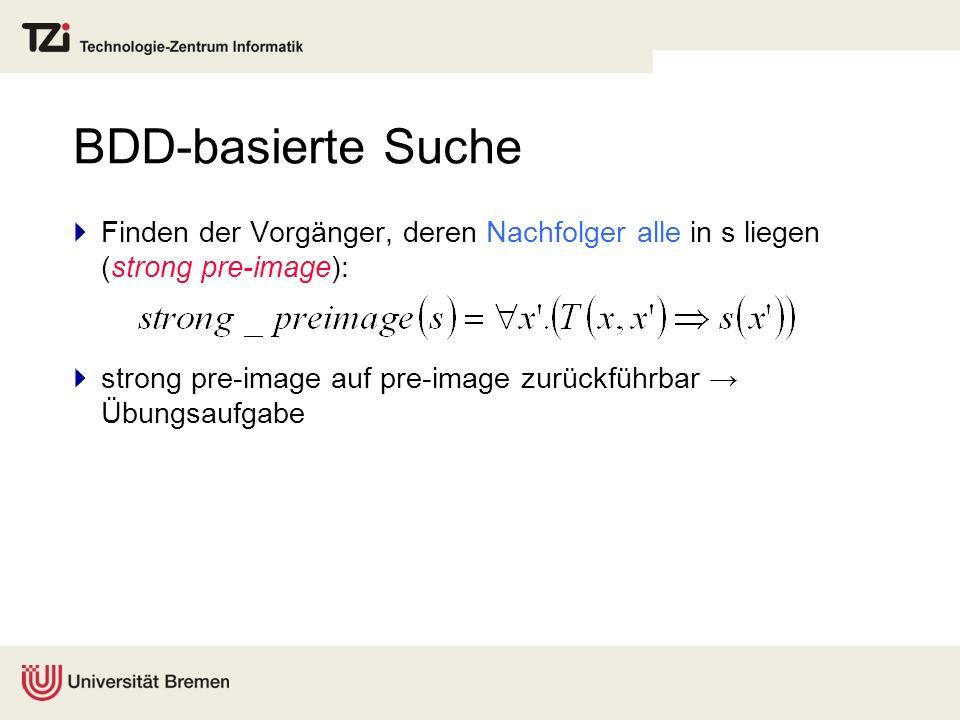 BDD-basierte Suche Finden der Vorgänger, deren Nachfolger alle in s liegen (strong pre-image): strong pre-image auf pre-image zurückführbar Übungsaufg