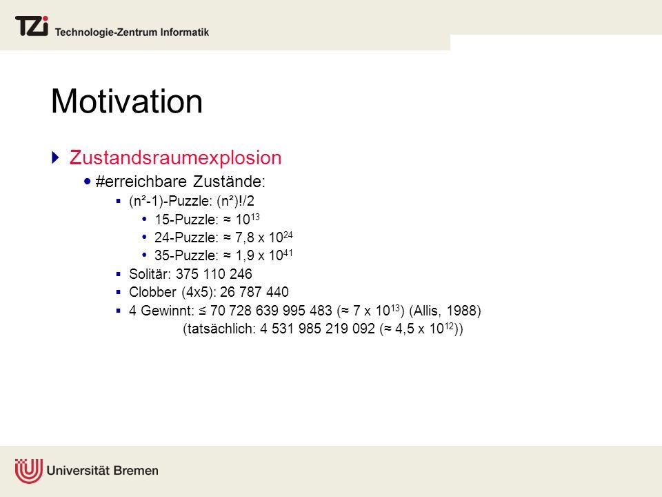 Motivation Zustandsraumexplosion #erreichbare Zustände: (n²-1)-Puzzle: (n²)!/2 15-Puzzle: 10 13 24-Puzzle: 7,8 x 10 24 35-Puzzle: 1,9 x 10 41 Solitär: