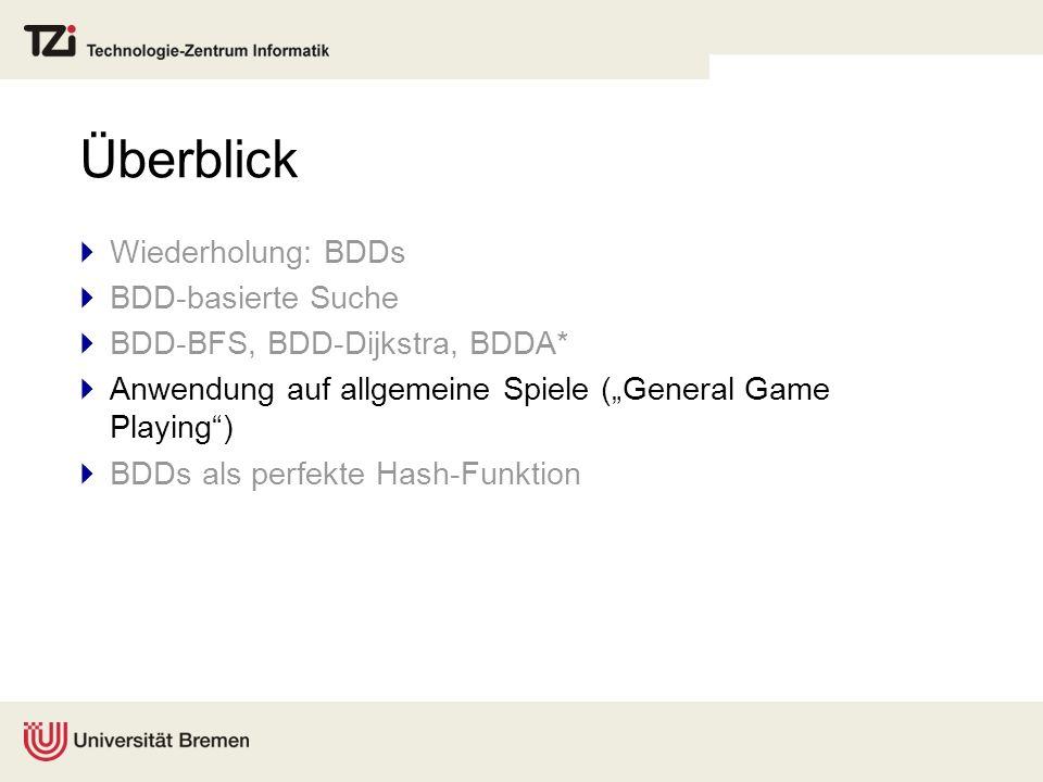 Überblick Wiederholung: BDDs BDD-basierte Suche BDD-BFS, BDD-Dijkstra, BDDA* Anwendung auf allgemeine Spiele (General Game Playing) BDDs als perfekte