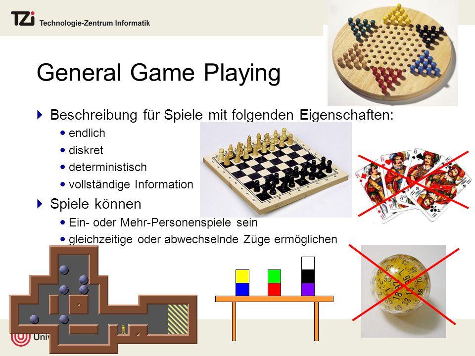 General Game Playing Beschreibung für Spiele mit folgenden Eigenschaften: endlich diskret deterministisch vollständige Information Spiele können Ein-