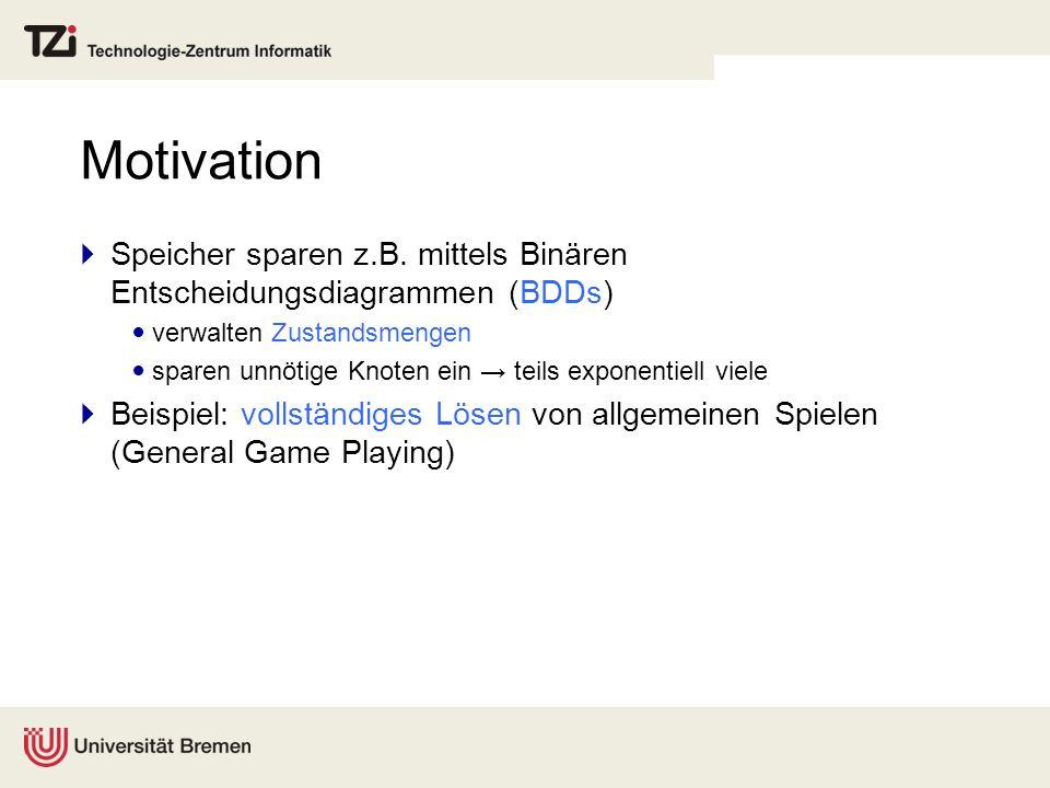 Überblick Wiederholung: BDDs BDD-basierte Suche BFS, Dijkstra, A* Anwendung auf allgemeine Spiele (General Game Playing) BDDs als perfekte Hash-Funktion