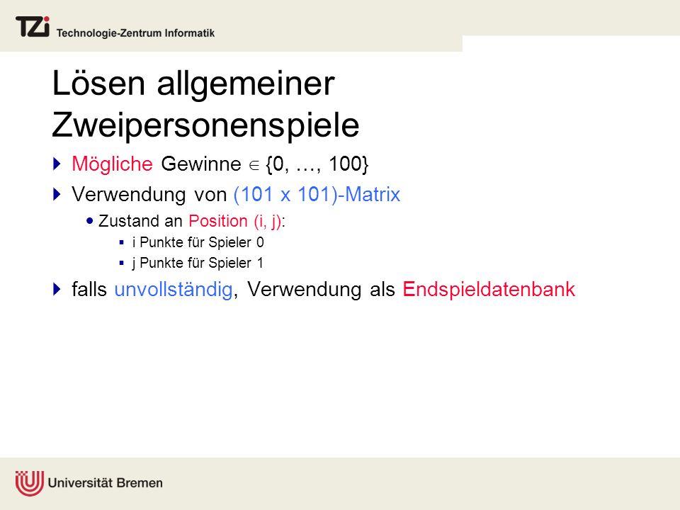 Lösen allgemeiner Zweipersonenspiele Mögliche Gewinne {0, …, 100} Verwendung von (101 x 101)-Matrix Zustand an Position (i, j): i Punkte für Spieler 0