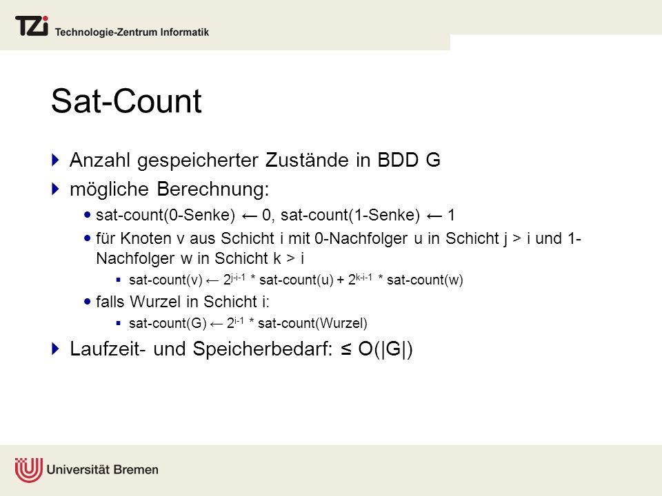 Sat-Count Anzahl gespeicherter Zustände in BDD G mögliche Berechnung: sat-count(0-Senke) 0, sat-count(1-Senke) 1 für Knoten v aus Schicht i mit 0-Nach