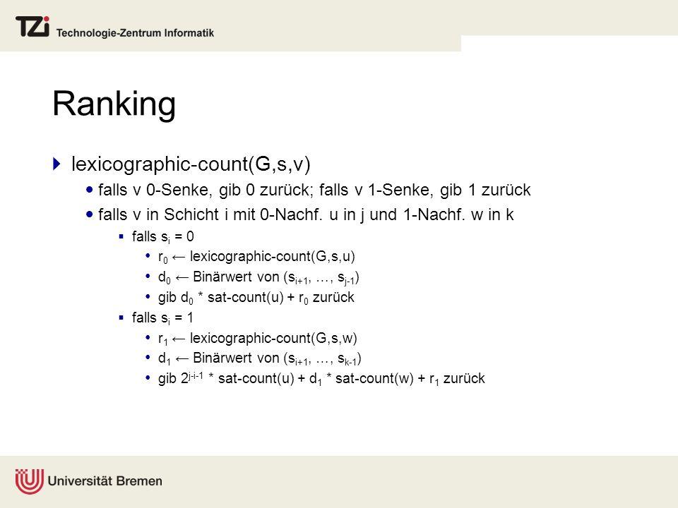 Ranking lexicographic-count(G,s,v) falls v 0-Senke, gib 0 zurück; falls v 1-Senke, gib 1 zurück falls v in Schicht i mit 0-Nachf. u in j und 1-Nachf.