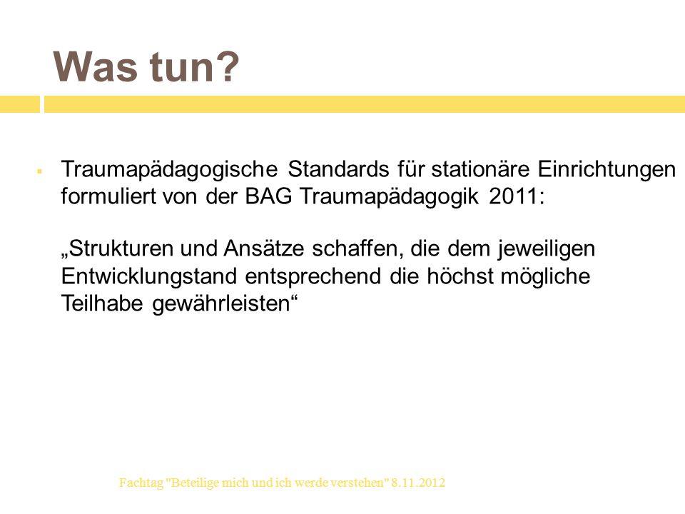 Was tun? Traumapädagogische Standards für stationäre Einrichtungen formuliert von der BAG Traumapädagogik 2011: Strukturen und Ansätze schaffen, die d