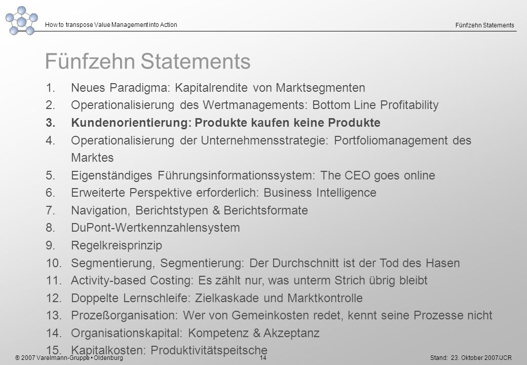 ® 2007 Varelmann-Gruppe Oldenburg How to transpose Value Management into Action Stand: 23. Oktober 2007/JCR 14 Fünfzehn Statements 1.Neues Paradigma: