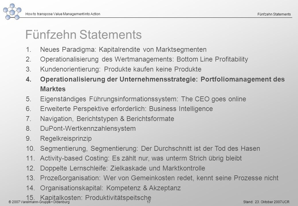 ® 2007 Varelmann-Gruppe Oldenburg How to transpose Value Management into Action Stand: 23. Oktober 2007/JCR 17 Fünfzehn Statements 1.Neues Paradigma: