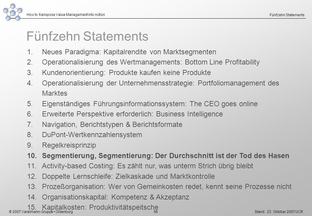 ® 2007 Varelmann-Gruppe Oldenburg How to transpose Value Management into Action Stand: 23. Oktober 2007/JCR 56 Fünfzehn Statements 1.Neues Paradigma: