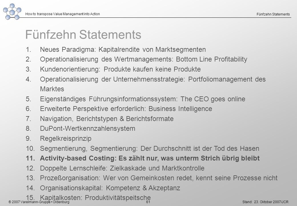 ® 2007 Varelmann-Gruppe Oldenburg How to transpose Value Management into Action Stand: 23. Oktober 2007/JCR 61 Fünfzehn Statements 1.Neues Paradigma: