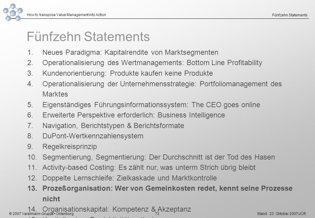 ® 2007 Varelmann-Gruppe Oldenburg How to transpose Value Management into Action Stand: 23. Oktober 2007/JCR 73 Fünfzehn Statements 1.Neues Paradigma: