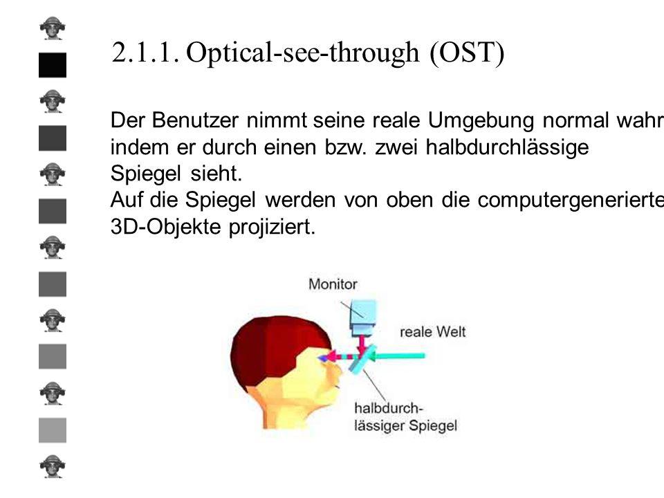 2.1.1. Optical-see-through (OST) Der Benutzer nimmt seine reale Umgebung normal wahr, indem er durch einen bzw. zwei halbdurchlässige Spiegel sieht. A